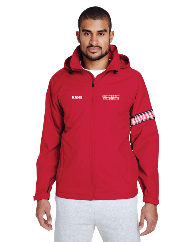Souderton Wrestling All Season Hooded Men's Jacket - Red - 5KounT2018