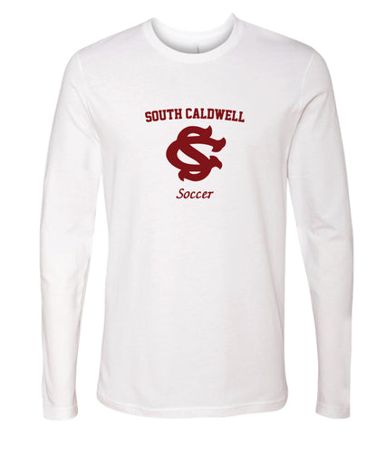 South Caldwell Soccer Long Sleeve cotton Tee - White - 5KounT2018