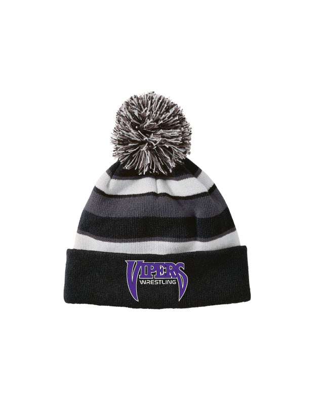 Space Coast HS Wrestling Pom Beanie - Black - 5KounT