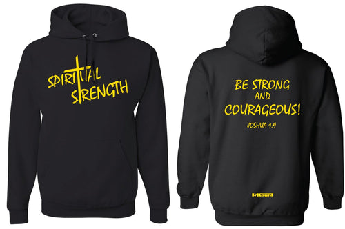 Spiritual Strength Cotton Hoodie-Black