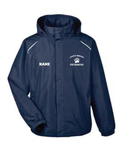 Stony Brook Swimming All Season Hooded Men's Jacket - Navy - 5KounT2018