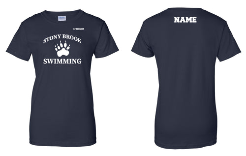 Stony Brook Swimming Cotton Women's Crew Tee - Navy - 5KounT2018