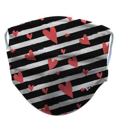 Stripe-Heart-Reusable-Face-Mask