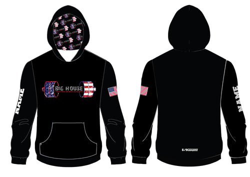 Big House Youth Fitness and Wrestling Sublimated Hoodie - Black/Red