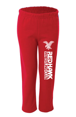 RedHawk Wrestling Club Gildan - Heavy Blend Youth Open Bottom Sweatpants - Red