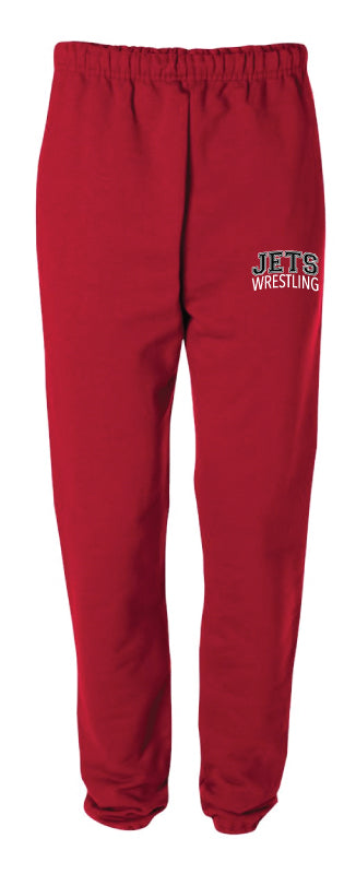 NC Jets Wrestling Cotton Sweatpants - Red