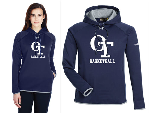 OT Basketball Under Armour Ladies' Double Threat Armour Fleece Hoodie - Navy