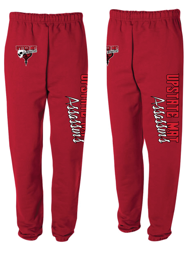 Upstate Mat Assassins Wrestling Cotton Sweatpants - Red/Black