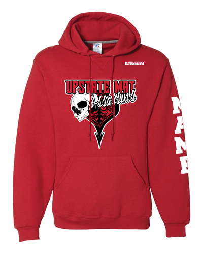 Upstate Mat Assassins Wrestling Russell Athletic Cotton Hoodie  v2 - Red/Black
