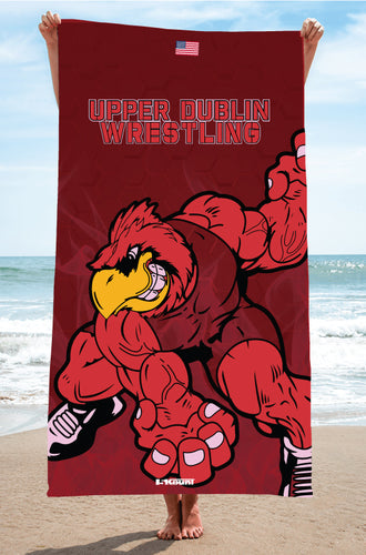 Upper Dublin Wrestling Sublimated Beach Towel - 5KounT2018