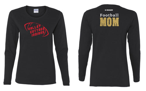 VCI Youth Football Mom Long Sleeve Cotton Crew - Black
