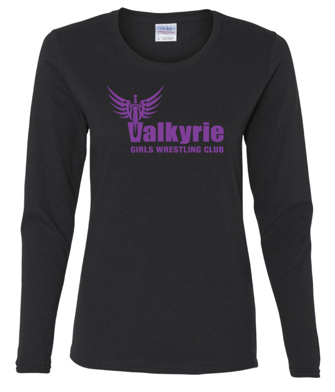 Valkyrie Girls Wrestling Long Sleeve Cotton Crew -  Black