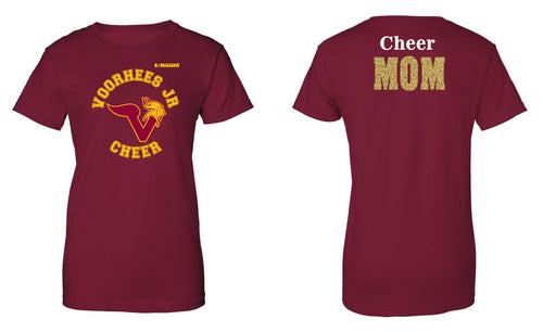 Voorhees Jr Cheer Cheer Mom Cotton Women's Crew Tee - Cardinal - 5KounT2018