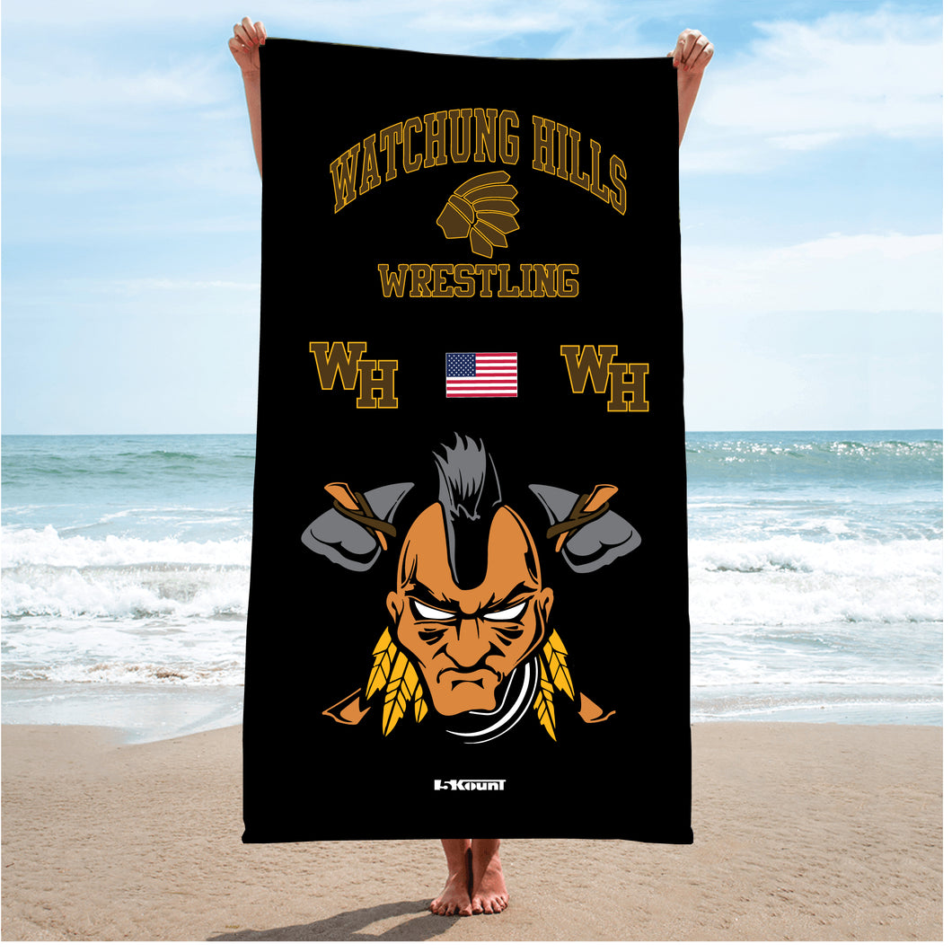 Watchung Hills Wrestling Sublimated Beach Towel