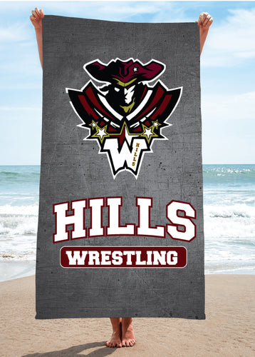 Wayne Hills Wrestling Sublimated Beach Towel - 5KounT2018