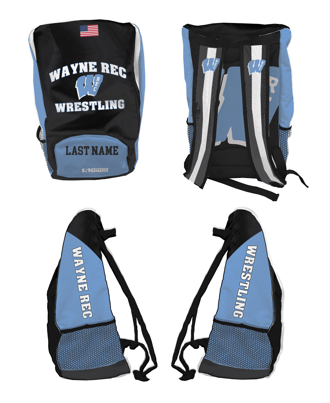 Wayne Rec Wrestling Sublimated Backpack - 5KounT2018