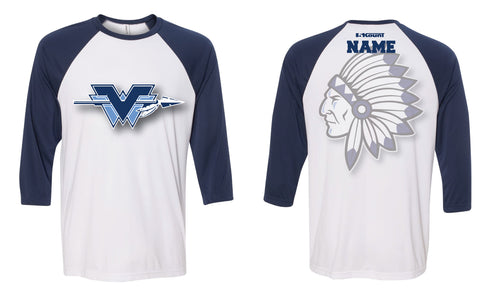 Wayne Valley Wrestling Baseball Shirt - Navy/White