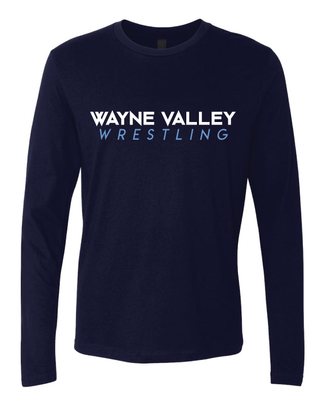Wayne Valley Wrestling Long Sleeve Cotton Crew - Navy - 5KounT