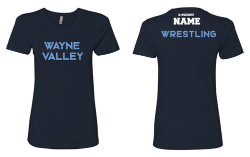 Wayne Valley Wrestling Women's Cotton Crew Tee - Navy/White