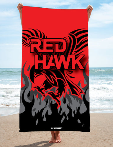 RedHawk Wrestling Club Sublimated Beach Towel-( White/Grey - Black/Red - Black/Green - Red/Black)
