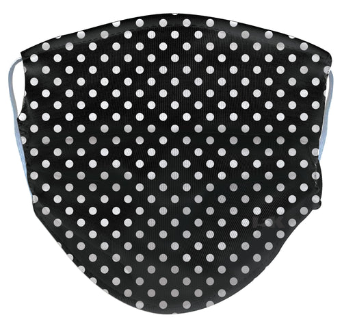 White Polka Dot Reusable Face Mask - Black/Turquoise/Periwinkle