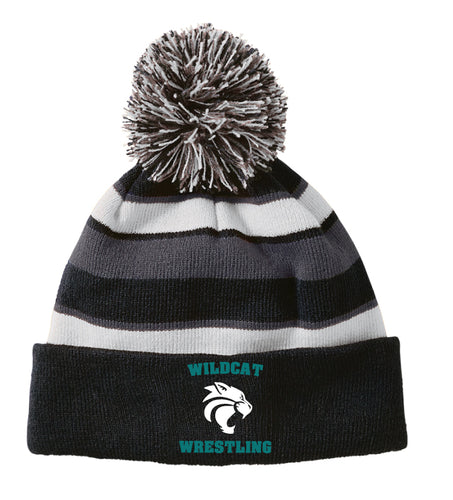 Royal Palm Beach Wildcat Pom Beanie - Black