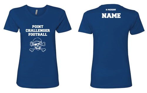 Challenger Football Cotton Women's Crew Tee - White/Royal - 5KounT2018