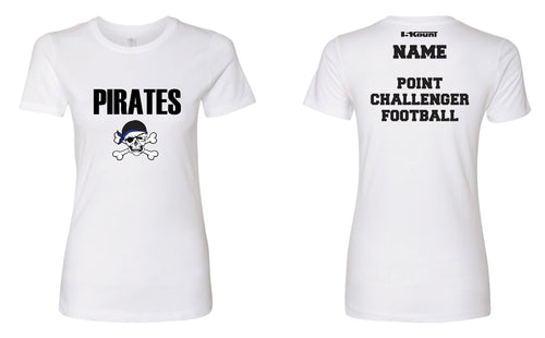 Challenger Football Cotton Women's Crew Tee - White/Black - 5KounT2018