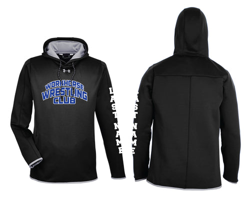 Workhorse Wrestling Club Under Armour Men's Double Threat Armour Fleece Hoodie - Black - 5KounT2018