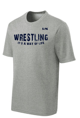 Wrestling is a Way of Life Dryfit Performance Tee - Grey