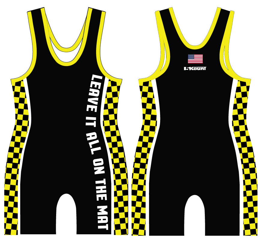 Checkerboard Sublimated Singlet- Neon Yellow