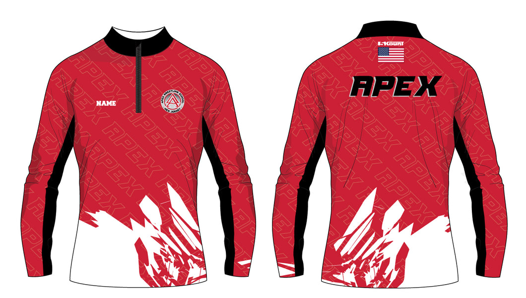 APEX Wrestling Sublimated Quarter Zip Red and White - 5KounT2018