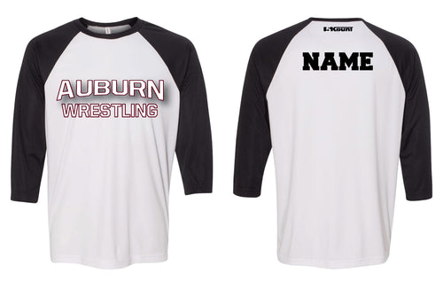Auburn Wrestling Baseball Shirt - Black/White
