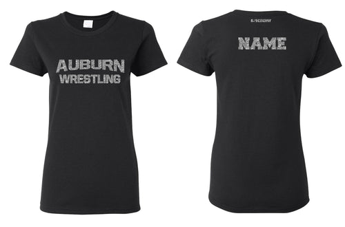 Auburn Wrestling Glitter Cotton Crew Tee - Black
