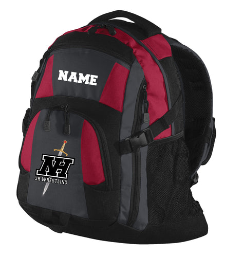 NHJW Red/Black Backpack with logo and name
