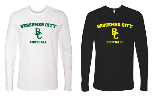 Bessemer City Football Long Sleeve Cotton Crew - Black or White - 5KounT2018