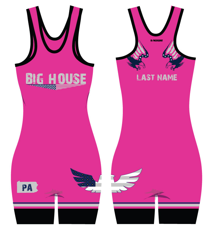 Big House Wrestling Sublimated Women's Singlet - Pink - 5KounT2018