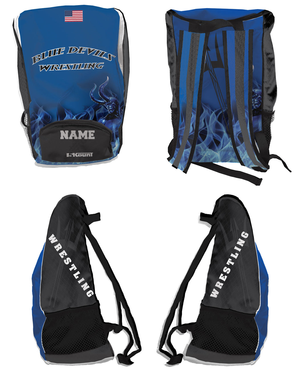 Bismarck Wrestling Sublimated Backpack