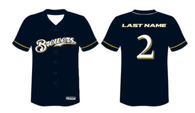Brewers Baseball Sublimated Game Jersey - Navy