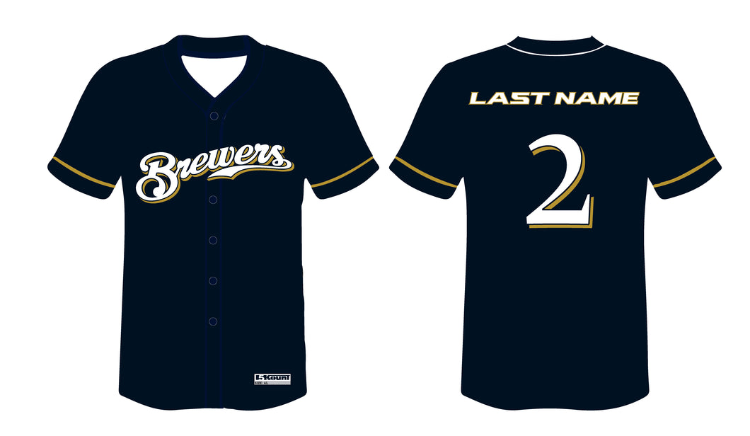 Brewers Baseball Sublimated Game Jersey - Navy - 5KounT2018