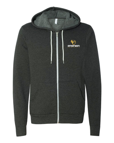 Emersion Crossfit Bella Canvas Fleece Full Zip Unisex Hoodie - Dark Grey Heather - 5KounT2018