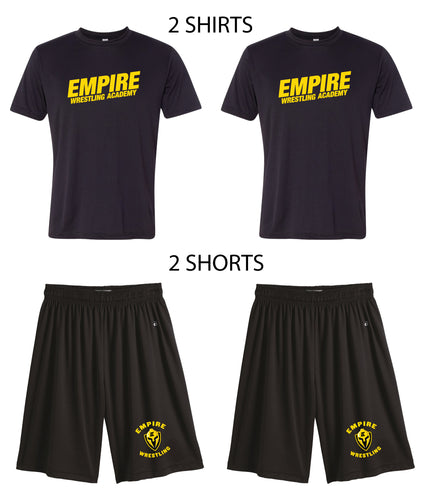Empire Wrestling Starter Kit Package (Black Dryfit/TechShorts - 2 Sets) - 5KounT2018
