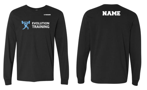 Evolution Cotton Crew Long Sleeve Tee - Black - 5KounT2018