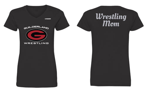 Guilderland Wrestling Mom Cotton Crew Glitter Tee - Black - 5KounT2018