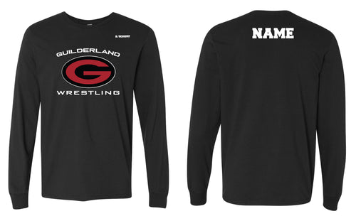 Guilderland Wrestling Cotton Crew Long Sleeve Tee - Black - 5KounT2018