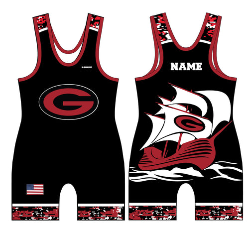 Guilderland Wrestling Sublimated Men's Singlet - Black - 5KounT2018