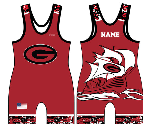 Guilderland Wrestling Sublimated Men's Singlet - Red - 5KounT2018