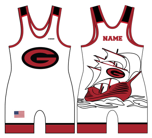 Guilderland Wrestling Sublimated Men's Singlet - White - 5KounT2018