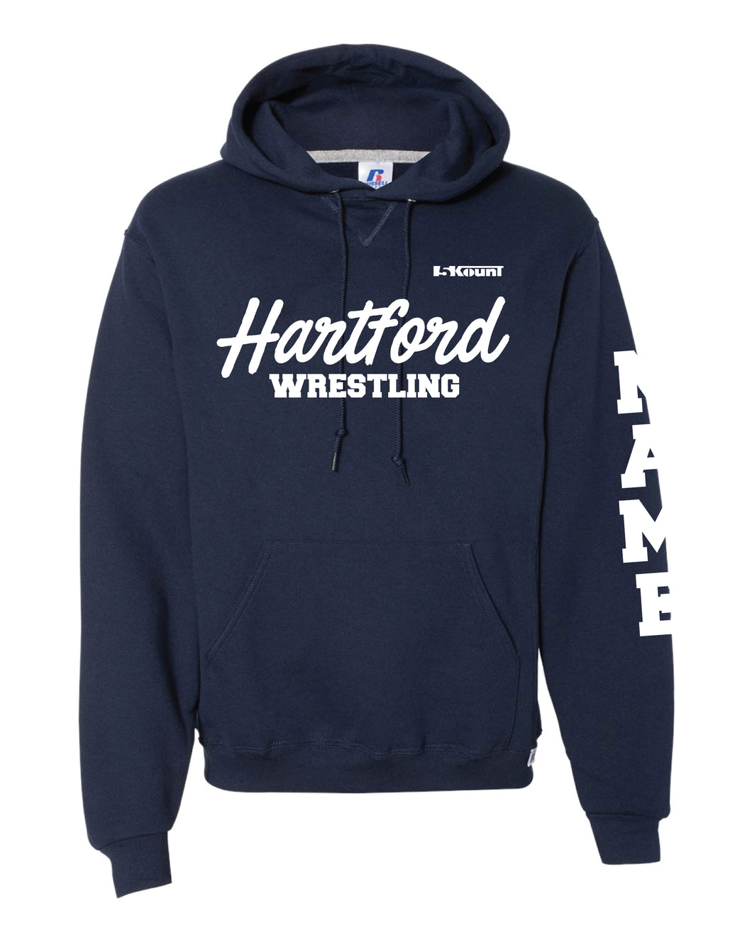 Hartford Owls Wrestling Russell Athletic Cotton Hoodie - Navy - 5KounT2018