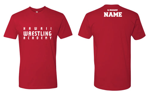 Hawaii Wrestling Academy Men Cotton Crew Tee - Red/Royal